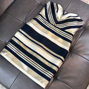 Ann Taylor Striped Strapless Metallic Foil Dress